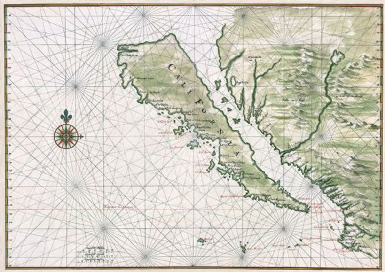 Vingboons, Johannes: Map of California Shown as an Island. Fine Art Print/Poster. Sizes: A4/A3/A2/A1 (008)
